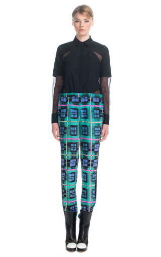 Medium prabal gurung black plaid tuxedo track pants