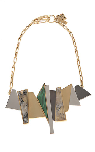 Medium kelly wearstler gold and facet statement necklace