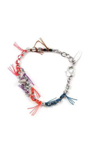 Medium joomi lim multi electric dreams crystal spike bracelet with bluered thread details