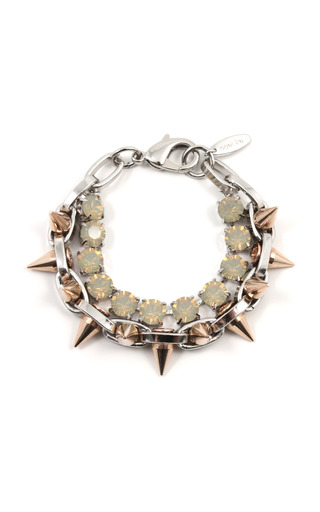 Medium joomi lim yellow shine on crystal spike bracelet with rose gold spikes