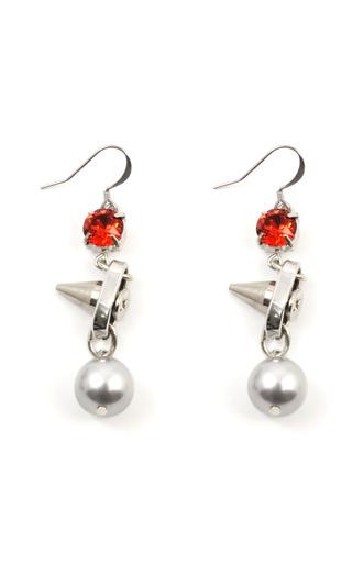 Medium joomi lim orange shine on crystal pearl earrings with silver spikes
