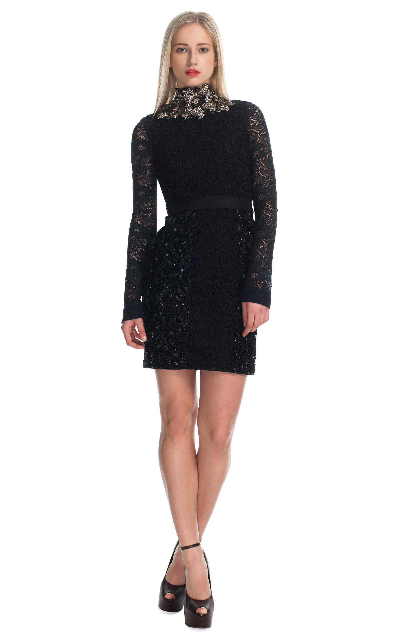 Ampersand Guipure Lace Dress With Jeweled Collar