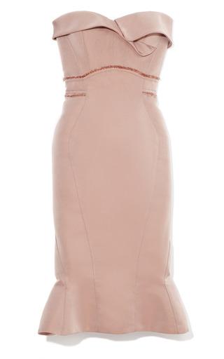 Dusty Rose Geometric Strapless  Dress by ZAC POSEN for Preorder on Moda Operandi