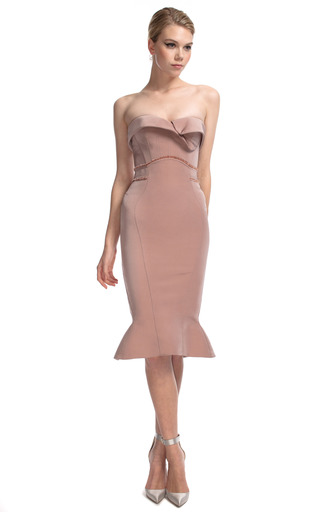 Medium zac posen pink dusty rose geometric strapless dress