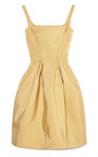Gold Square Neck Cocktail Dress by ZAC POSEN for Preorder on Moda Operandi
