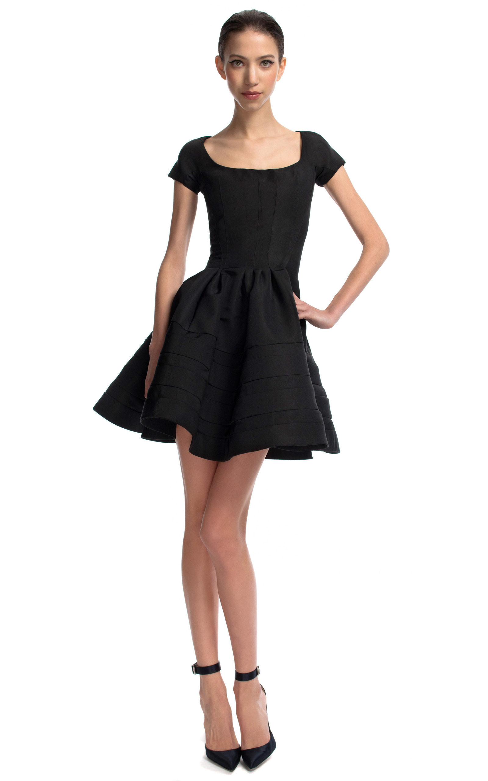Black Scoop Neck Flounce Dress by Zac Posen | Moda Operandi