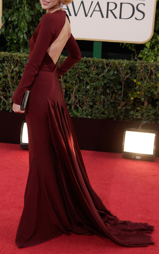 Medium zac posen burgundy open back evening gown