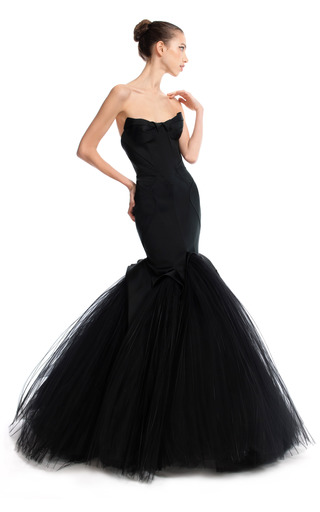 Medium zac posen black mermaid duchess evening gown