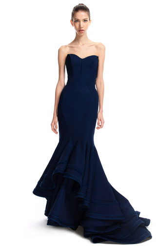 Medium zac posen blue violet blue tiered mermaid gown