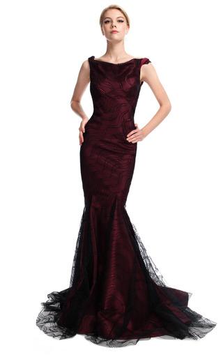 Medium zac posen burgundy bateau neck mermaid evening gown