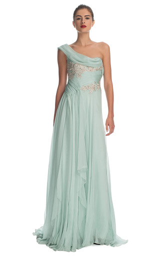 Medium marchesa light green grecian one shoulder embroidered chiffon gown