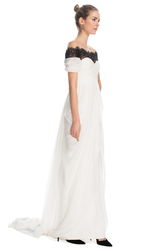 Off The Shoulder Chiffon Gown With Re Embroidered Lace Accent by MARCHESA for Preorder on Moda Operandi