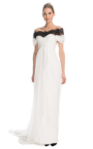 Medium marchesa black off the shoulder chiffon gown with re embroidered lace accent