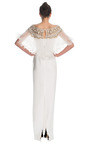 Silk Crepe Column Gown With Pleated Organza Cape by MARCHESA for Preorder on Moda Operandi
