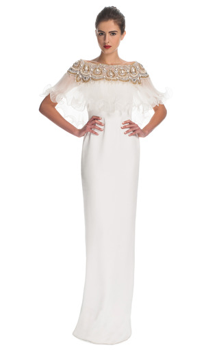 Medium marchesa ivory silk crepe column gown with pleated organza cape