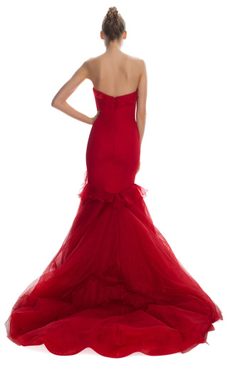 Silk Gauze Gown With Tulle Fishtail by MARCHESA for Preorder on Moda Operandi