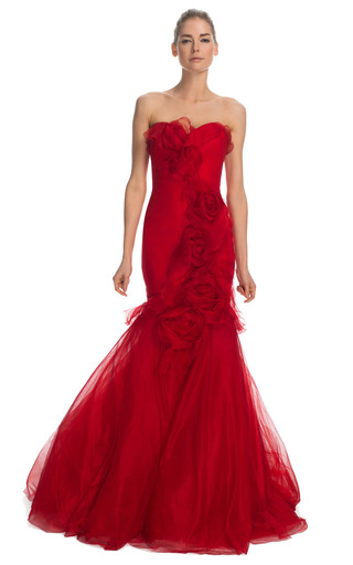 Medium marchesa red silk gauze gown with tulle fishtail