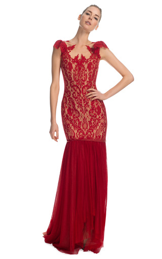 Medium marchesa red engineered lace gown with tulle fishtail