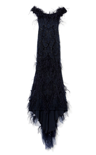 All Over Feather And Crystal Embroidered Gown by MARCHESA for Preorder on Moda Operandi