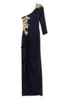 One Shoulder Gown With Gold Floral Embroidery by MARCHESA for Preorder on Moda Operandi