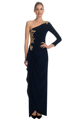 Medium marchesa navy one shoulder gown with gold floral embroidery