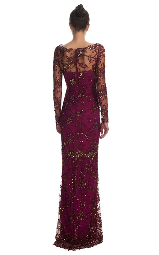All Over Embroidered Illusion Sleeve Gown by MARCHESA for Preorder on Moda Operandi