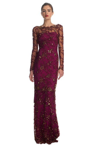 Medium marchesa red all over embroidered illusion sleeve gown