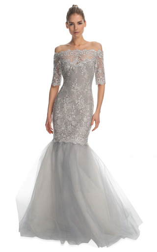 Medium marchesa silver double layer re embroidered lace fishtail gown