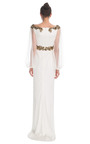 Silk Column Gown With Tulle Balloon Sleeves by MARCHESA for Preorder on Moda Operandi