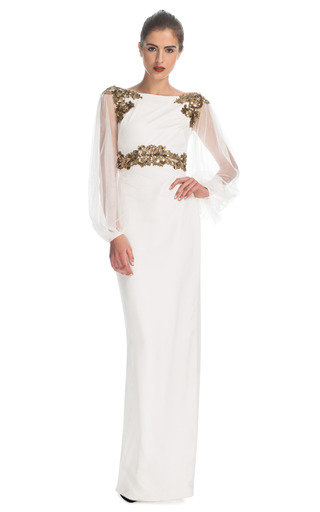 Medium marchesa ivory silk column gown with tulle balloon sleeves