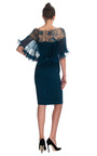 Silk Crepe Cocktail Dress With Crystal And Bugle Bead Organza Cape by MARCHESA for Preorder on Moda Operandi