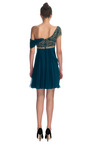One Shouler Chiffon Cocktail Dress With Embroidered Bodice by MARCHESA for Preorder on Moda Operandi