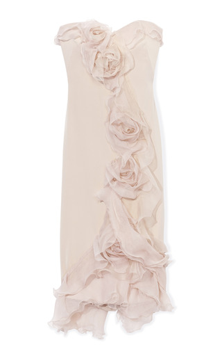 Silk Gauze Cocktail Dress With Tulle Rose Detail by MARCHESA for Preorder on Moda Operandi