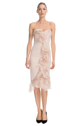 Medium marchesa pink silk gauze cocktail dress with tulle rose detail