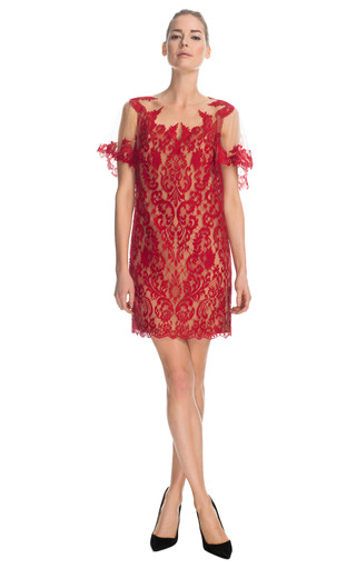 Medium marchesa red engineered lace dress with ruffled sleeves