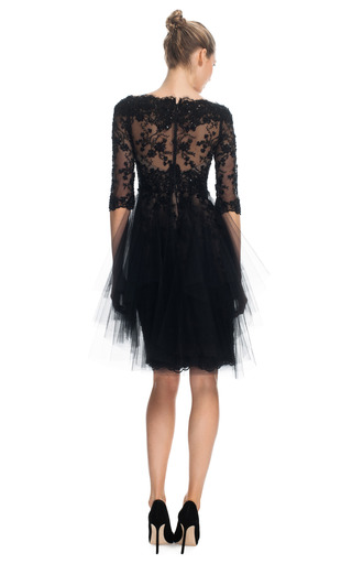 Re Embroidered Lace Cocktail Dress With Tonal Tulle Overlay by MARCHESA for Preorder on Moda Operandi