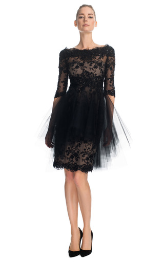 Medium marchesa black re embroidered lace cocktail dress with tonal tulle overlay