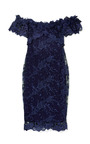 Off The Shoulder Corded Lace Cocktail Dress by MARCHESA for Preorder on Moda Operandi