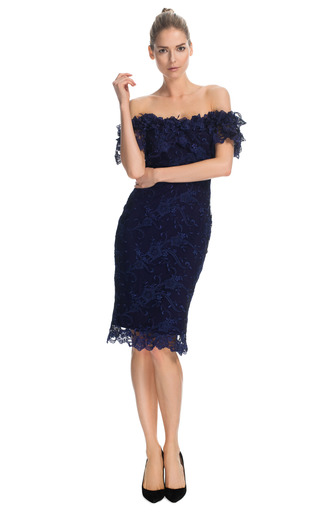 Medium marchesa purple off the shoulder corded lace cocktail dress
