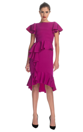 Medium marchesa silk crepe cocktail dress with biased ruffle skirt