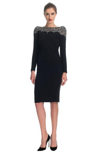 Medium marchesa black silk crepe embellished cowl back dress