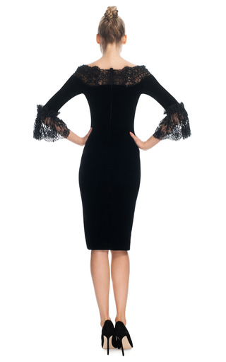 Velvet Cocktail Dress With Three Quarter Frill Sleeves by MARCHESA for Preorder on Moda Operandi