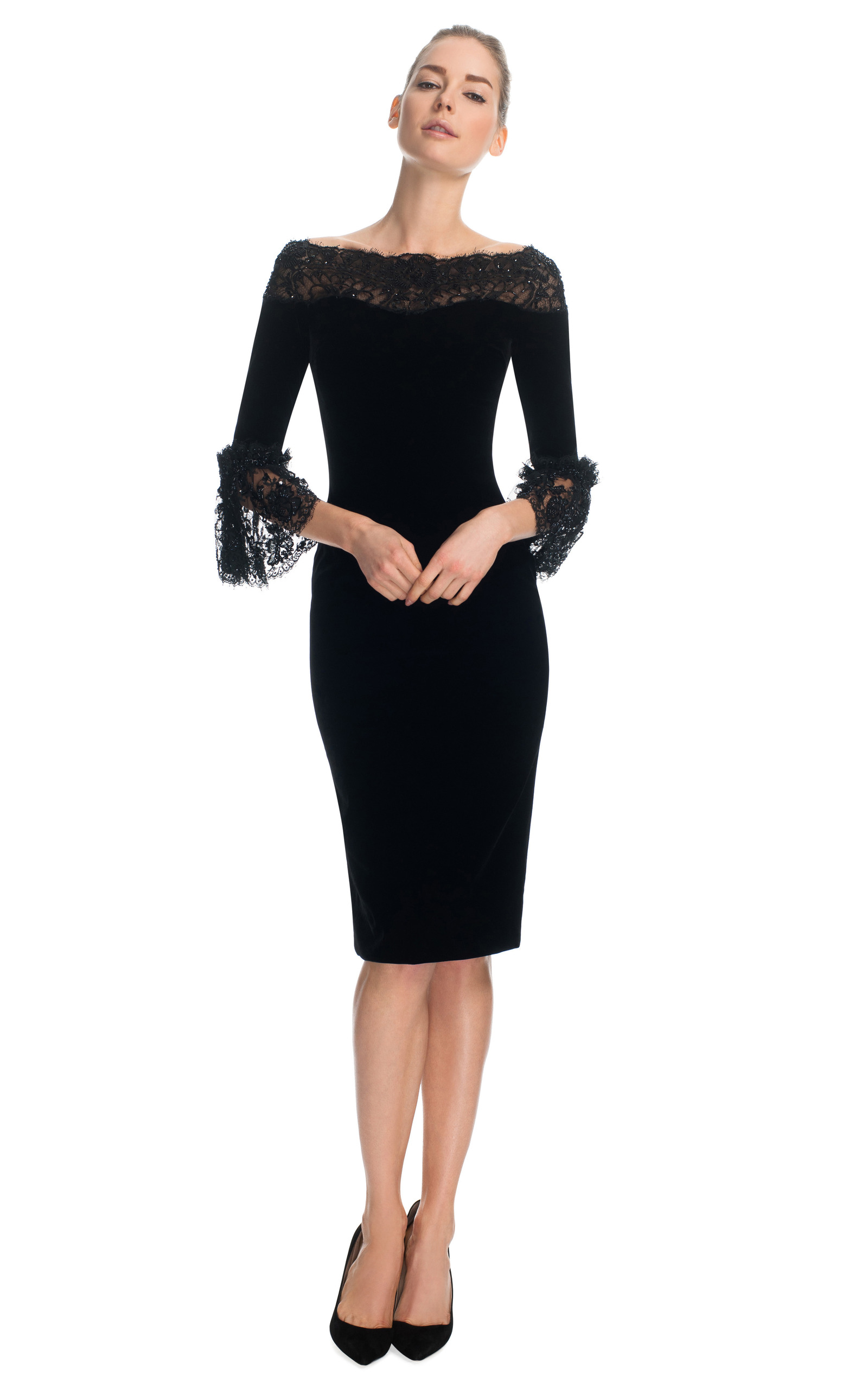 Velvet Cocktail Dress with Three-Quarter Frill Sleeves by Marchesa ...