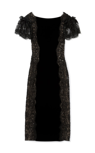 Velvet Cocktail Dress With Re Embroidered Lace Panels by MARCHESA for Preorder on Moda Operandi