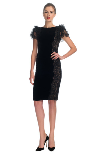 Medium marchesa black velvet cocktail dress with re embroidered lace panels