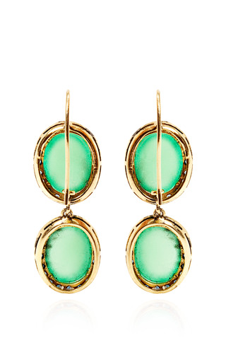18 K Yellow Gold Chrysoprase And Sapphire Kat Earrings by ANDREA FOHRMAN Now Available on Moda Operandi
