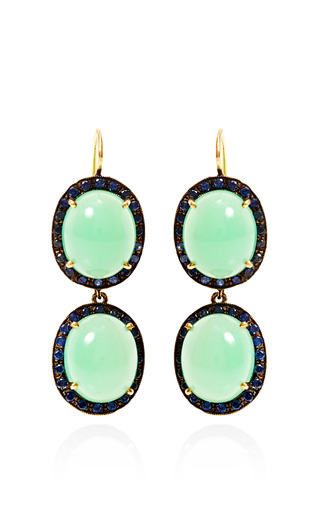 Medium andrea fohrman multi 18k yellow gold chrysoprase and sapphire kat earrings