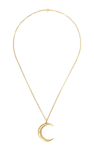 Medium andrea fohrman multi 18k yellow gold and diamond luna necklace
