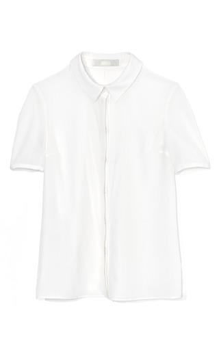 Medium honor white short sleeve silk blouse