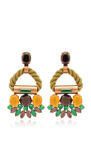 Medium moutoncollet metallic olive pauciflora earrings